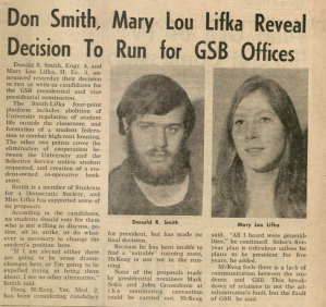 News article announing Smiths and Lifkas intentions to run for GSB office