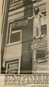 Newspaper photo of Don Smith hung in effigy on the steps of Beardshear Hall in 1967