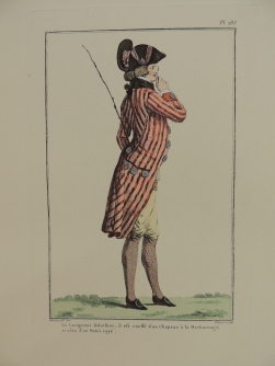 Colored illustration of a profile of a gentleman in a tri-corn hat, a red striped coat with tails, yellow breaches, gray stockngs, and black buckled shoes holding a monocle to his eye.
