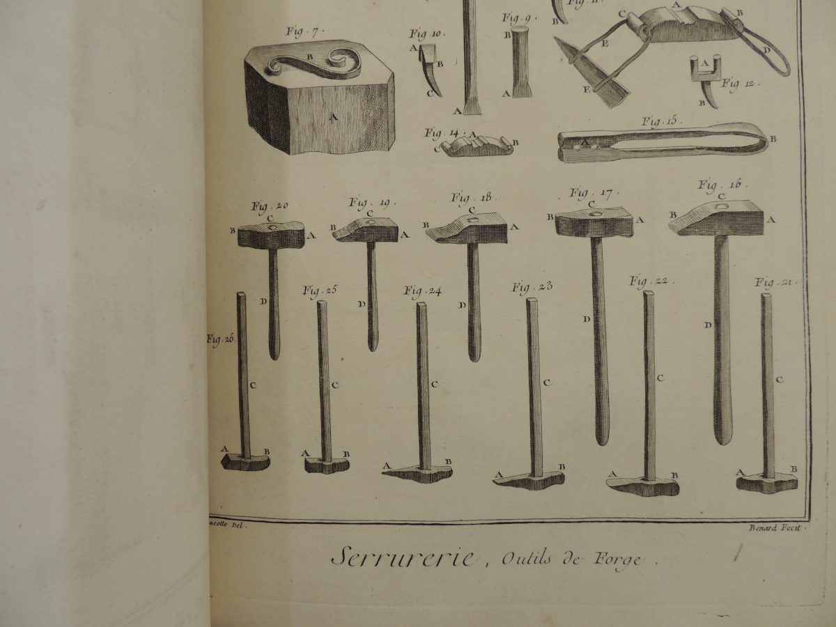 Line drawing showing two rows of various types of hammers.