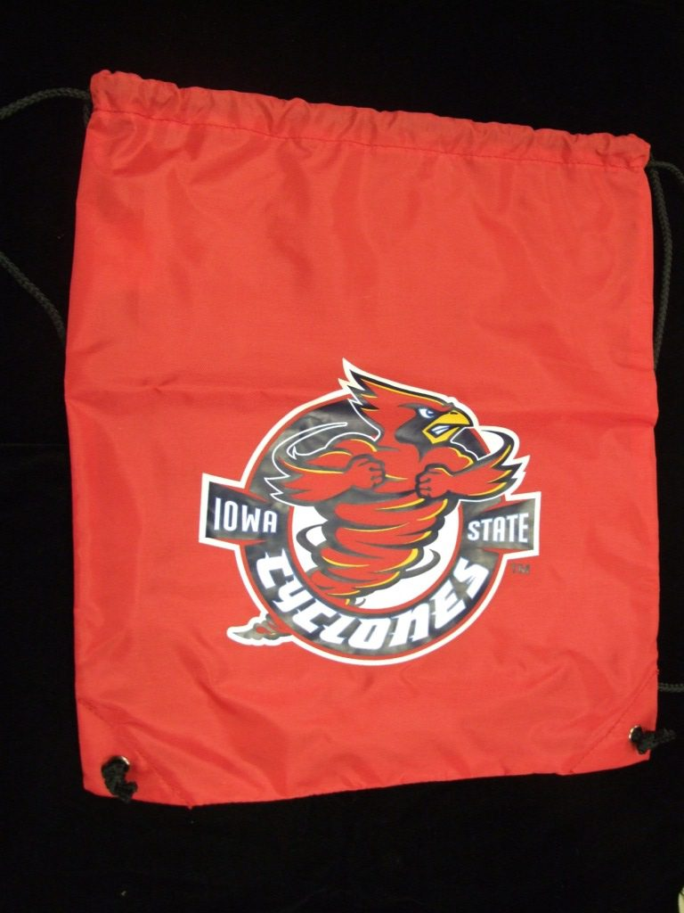 red Iowa State Cyclones drawstring bag that has Cy at center & Iowa State Cyclones printed around Cy.