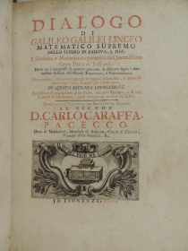 Title page of ISU's 1710 Italian language edition of Galileo's Dialogo. Call number QB41 .G35 D5x 1710.