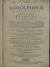 Title page of Kepler's Tabulae Rudolphinae, call number QB26 .K44t. The Rudolphine Tables were considered Kepler's major work during his lifetime. It records the positions of the planets made from the observations of Tycho Brahe.