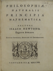 Title page from the second edition of Newton's Principia (1726), call number QA803 N484p2