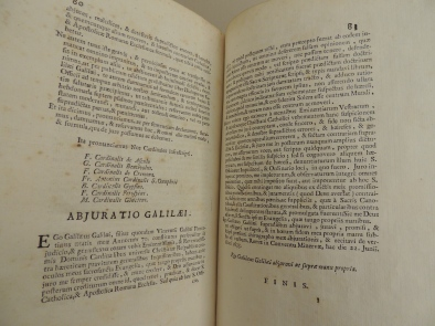 The Abjuration of Galileo, in which he renounces his Copernican beliefs.