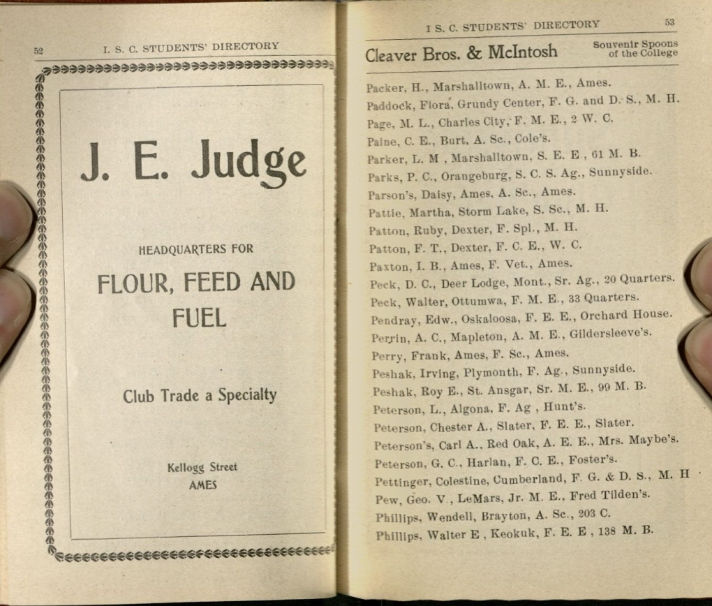 Two interior pages from the 1901 student directory