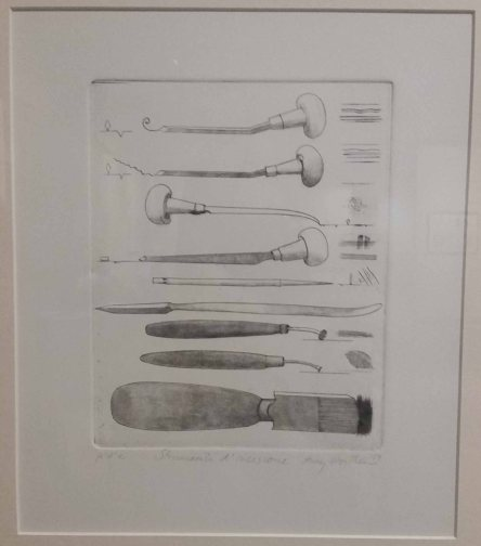 Engraved illustration depicting burins and other types of engraving tools.