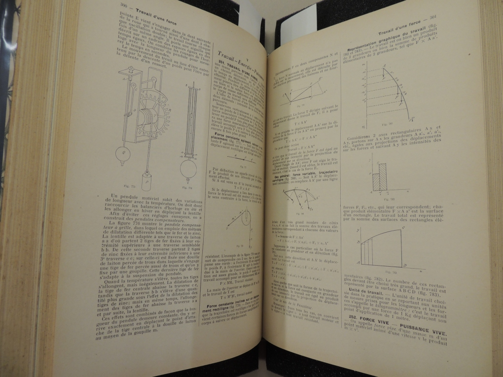 Two pages show technical text in French along with several scientific and mathematical diagrams.