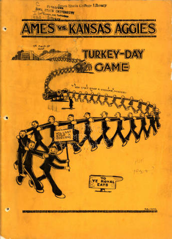 "Gold colored football program titled ""Ames vs. Kansas Aggies Turkey-Day Game"""