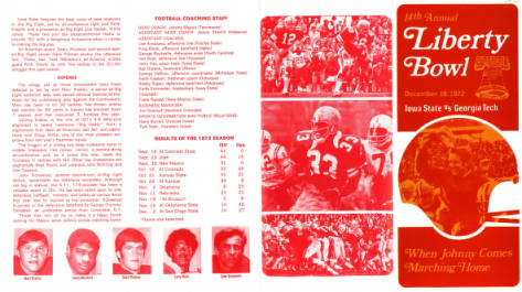 Football program for the 1972 Liberty Bowl