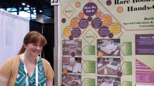 Rachael presenting a poster at the American Library Association Conference.