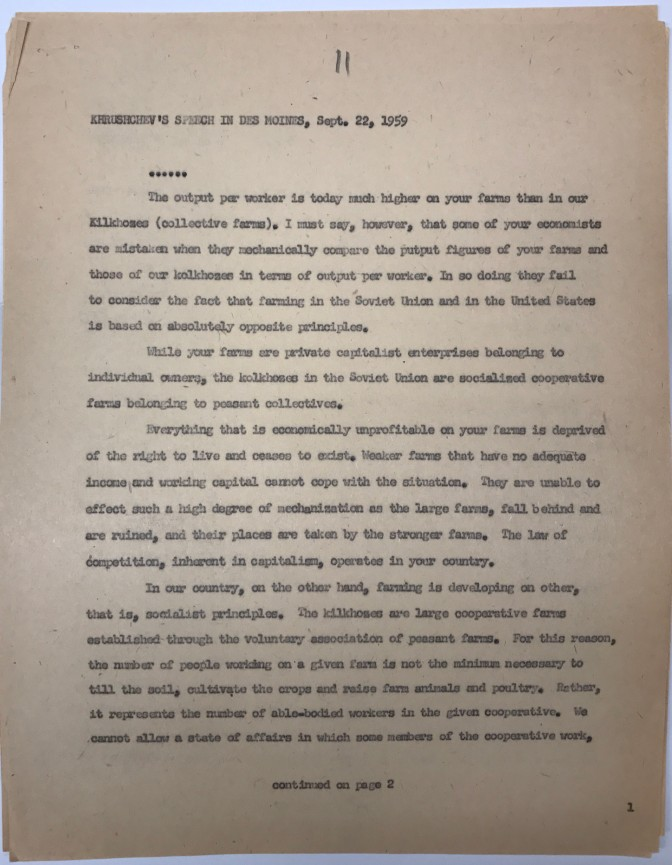 Typescript of Khrushchev's speech in Des Moines, Sept. 22, 1959