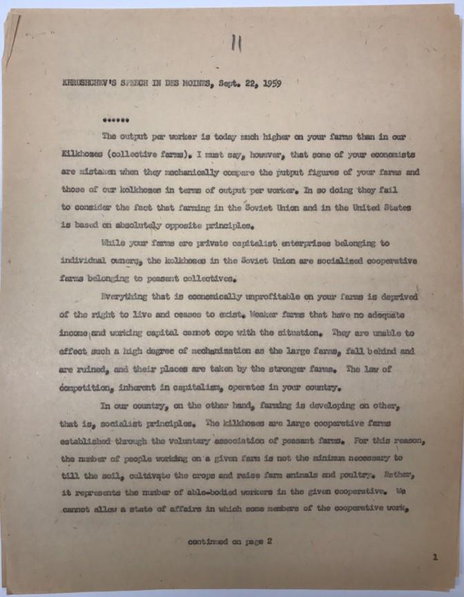 Typescript of Khrushchev's speech in Des Moines, Sept. 22, 1959