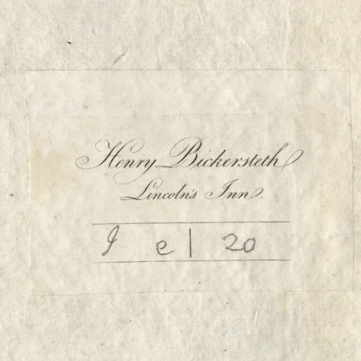 "Bookplate reads, ""Henry Bickersteth, Lincoln's Inn."" Handwritten notation reads, ""I e 