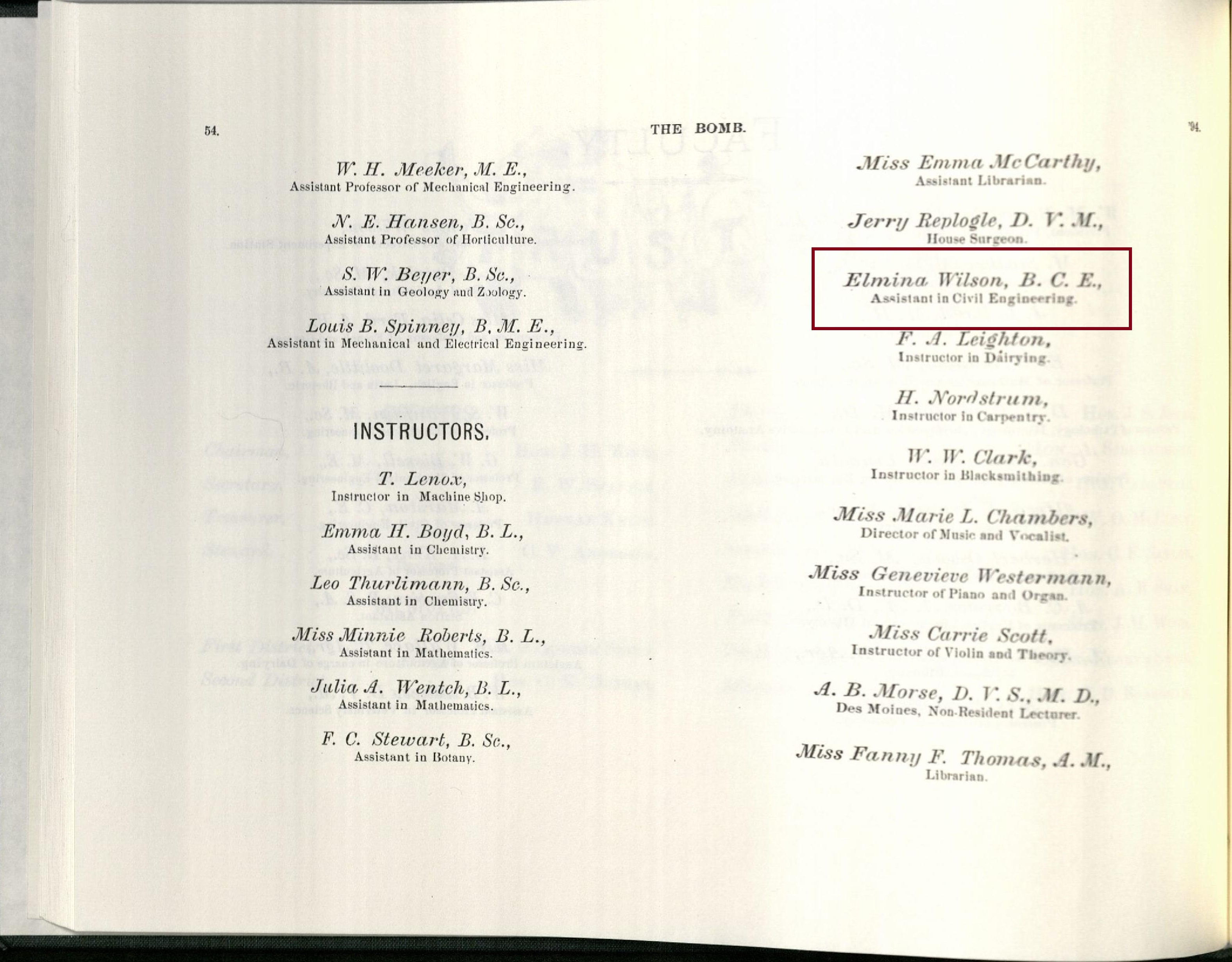 1894 Bomb yearbook, page 54. Elmina is listed as a department instructor even before she had officially graduated with her masters', as she taught while pursuing her graduate degree.