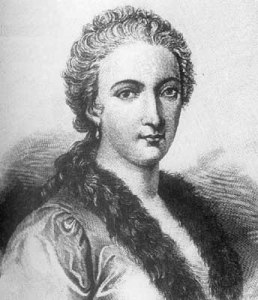 Black and white engraved head-and-shoulders portrait of a woman with hair pulled back from her face and wearing a dress with a furred or feathered collar.