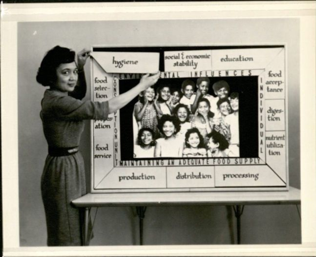"Photograph of Pilar Garcia pointing to a poster board with a photograph of smiling children of color, surrounded by words that can be removed in pieces around the photograph with headings beneath the move-able pieces. Garcia is placing the piece ""hygiene"" in an empty spot in the top left corner, framing photo of children. Heading: Environment influences, subheadings (e.g. movable pieces) hygiene, social & economic stability, education; heading: Individual, subheadings: food acceptance, digestion, nutrient utilization; heading: maintaining an adequate food supply, subheading: production, distribution, processing; heading: cons [letters obscured by Garcia's arm]ption unit, subheadings: food selection, [word obscured by Garcia's arm, could be ""food""] preparation, food service."