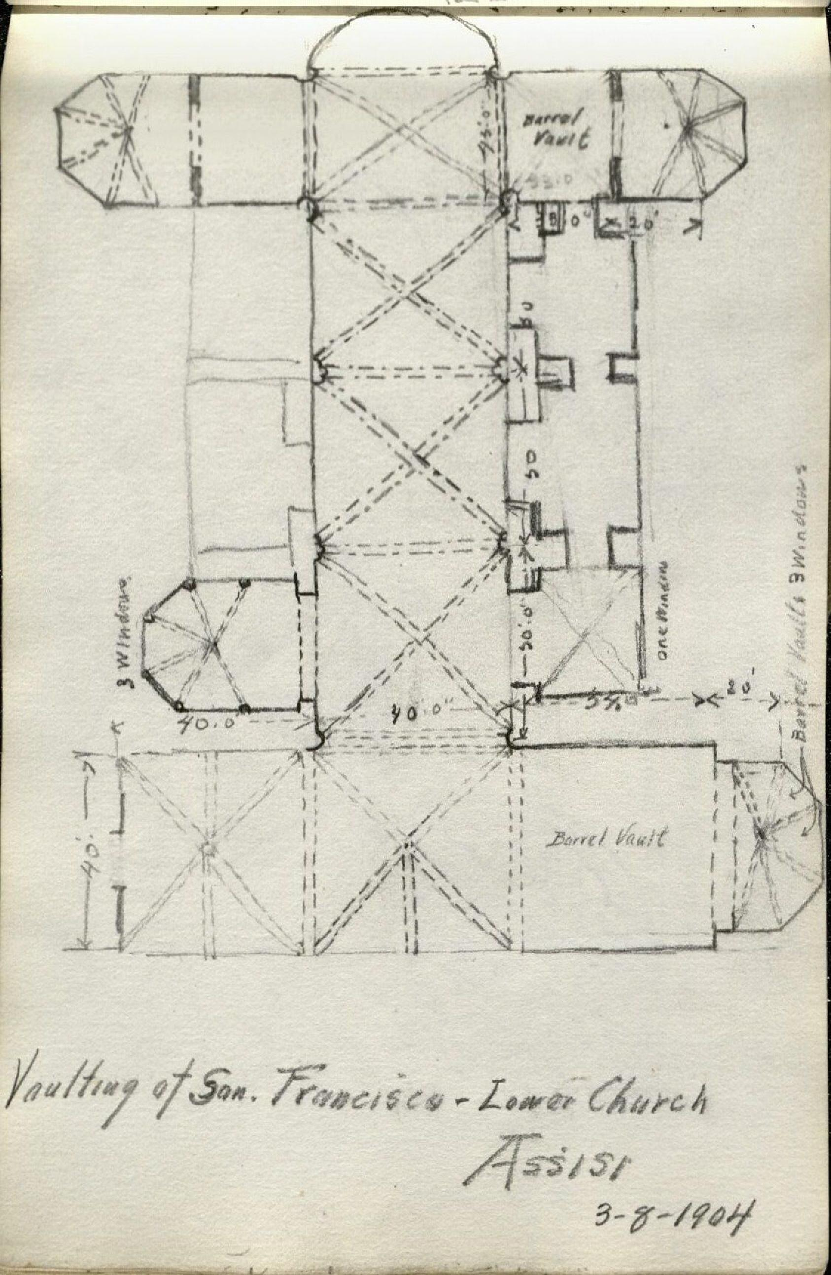 """Alda Wilson European Sketchbook page, pencil illustration of architecture from an aerial view, entitled """"Vaulting of San. Francisco - Lower Church Assisi 3-8-1904"""" (RS#21/7/24, folder 5)"""