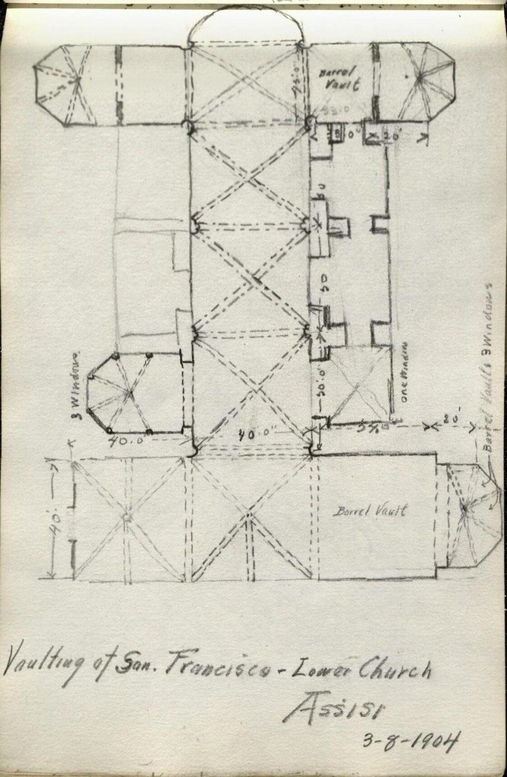 "Alda Wilson European Sketchbook page, pencil illustration of architecture from an aerial view, entitled ""Vaulting of San. Francisco - Lower Church Assisi 3-8-1904"" (RS#21/7/24, folder 5)"