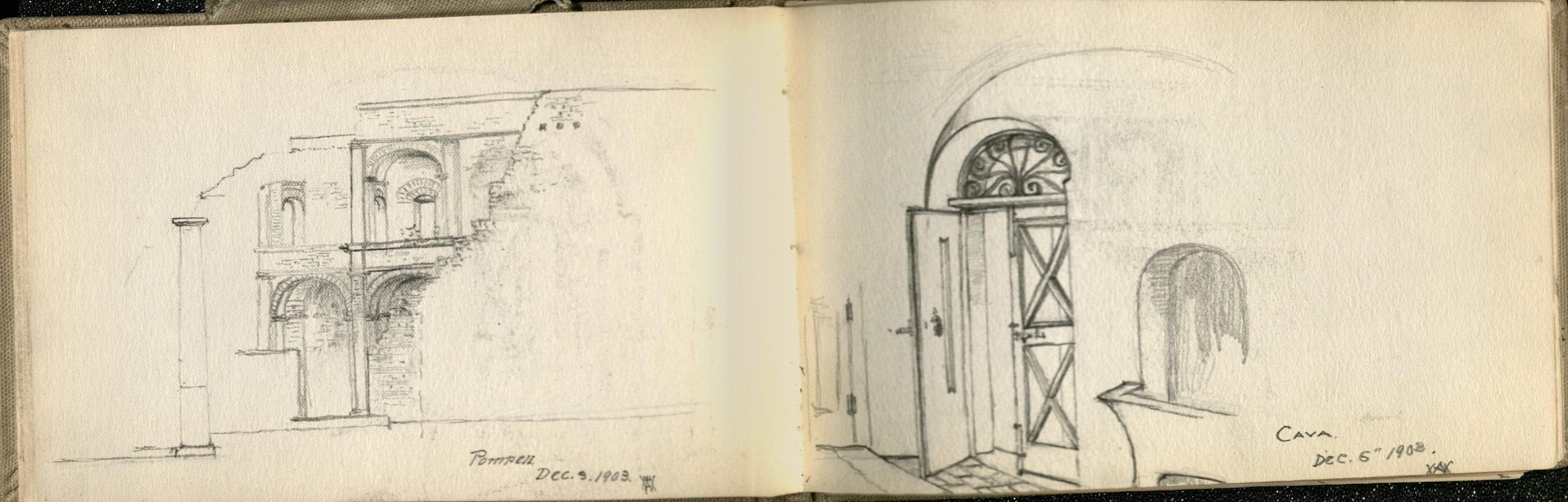 "Alda Wilson European Sketchbook, 2 page spread, pencil illustration of architecture from an exterior view, entitled ""Pompeii Dec. 5 1903"" and Cave Dec 6th 1903"" (RS#21/7/24, folder 5)"