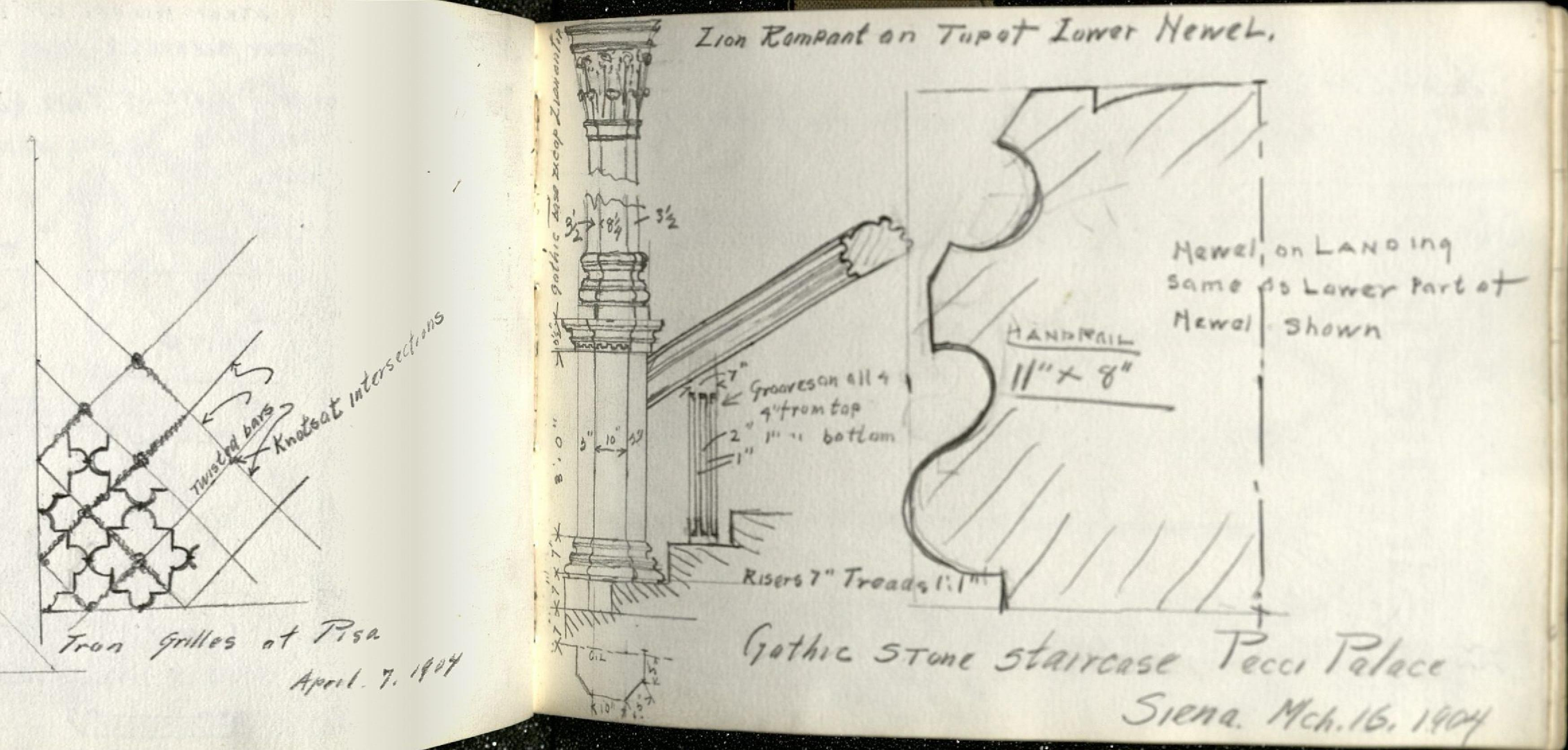 "Alda Wilson European Sketchbook page, pencil illustration of architecture dissected with numerical dimensions of components, entitled ""Gothi Stone Staircase Pecci Palace Siena. Mch.16 1904"" (RS#21/7/24, folder 5)"