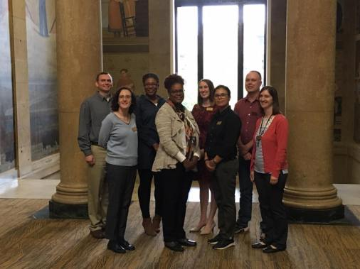 Picture of Special Collections & University Archives, left-right: Brad Kuennen, Caitlin Moriarty, Shaina Destine, Petrina Jackson, Olivia Garrison, Rosie Rowe, Matt Schuler, & Amy Bishop (photo by Jesse Garrison).