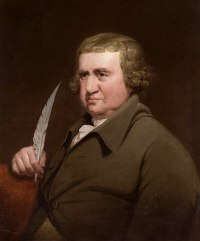 Painting of a man with shoulder-length light brown hair wearing an eighteenth dentury brown coat and cravat and holding a quill pen.