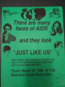 AIDS Awareness Program flyer, March 1994. Courtesy of Tasha Oakley, AKA Inititate and ISU Class of 1997.