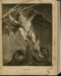 Black and white engraving of a nude man's body with a face like a man's but a mouth and main like a lion. Entwined around one leg is a dragon's tail, while the head rests on top of the man's head, and the wings spread out behind the man's arms. One arm holds onto a fork of lightning. The entire form floats above ocean waves.