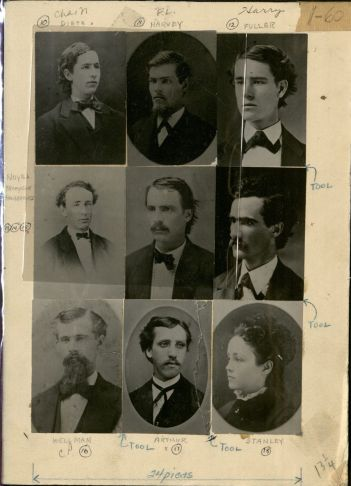 Proofs for the collection of photographs for 1872 graduates given to the Alumni Association.