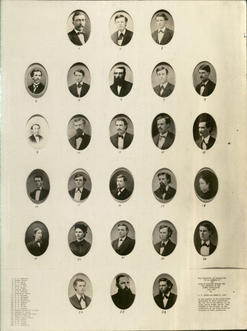 Individual portraits of 26 members of Iowa State Class of 1872, 24 men and 2 women.