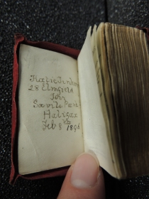 "Owner's name address in Bryce Holy Bible, reads, ""Katie Tinker, 28 Elmfield Terr., Savile Park, Halifax, Feb 8th 1896"""