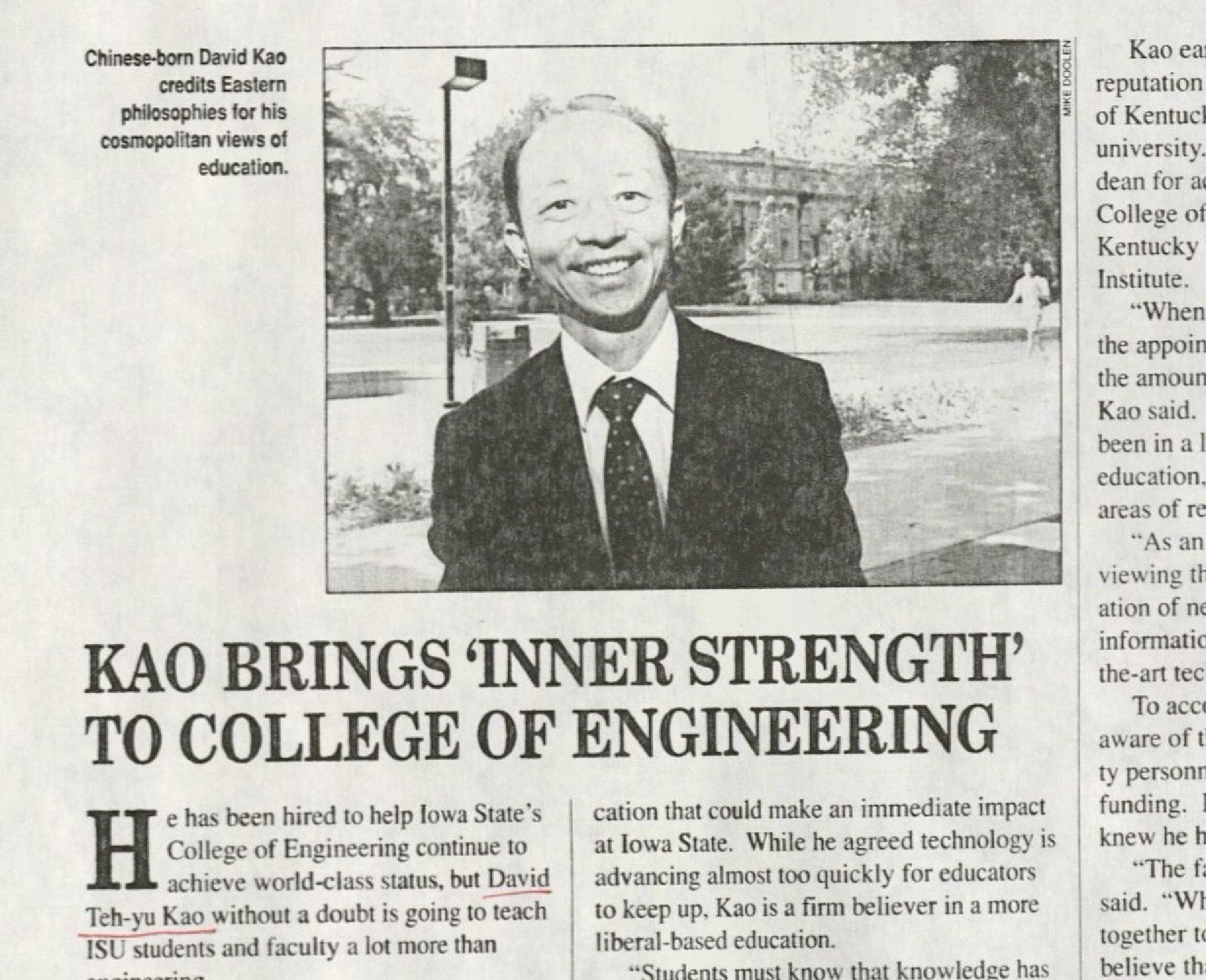 """Article from Visions journal, published by the ISU Alumni Association. Undated. RS 11/1/16, Box 1, Folder 2. Title of the article reads as follows: """"Kao Brings 'Inner Strength' To College of Engineering."""" Photo of Dean Kao. Caption on the photo reads as follows: """"Chinese-born David Kao credits Eastern philosophies for his cosmopolitan views of education."""""""
