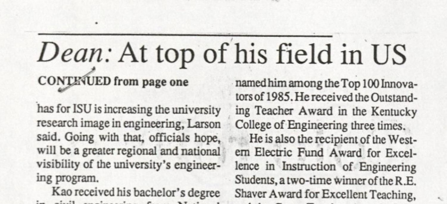 """Headline from The Ames Daily Tribune, Thursday, June 16, 1988. RS 11/1/16, Box 1, Folder 2. Headline reads as follows: """"Dean: At top of his field in US (continued from page one)."""""""