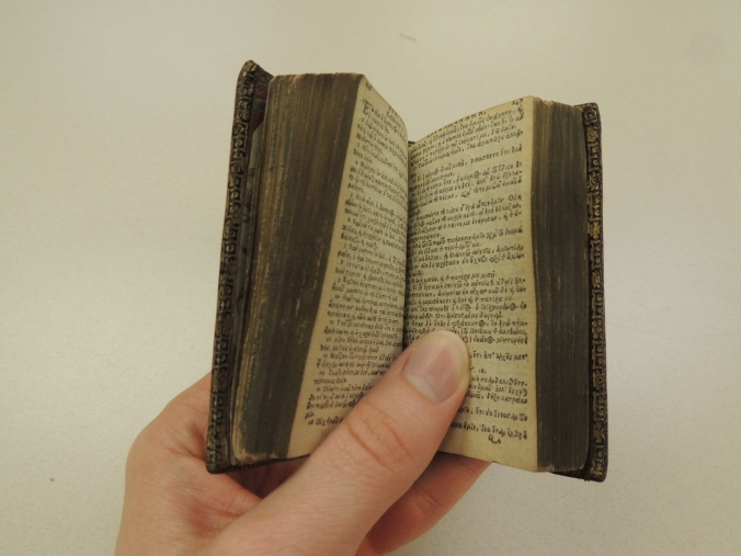 Hand holding open a 3-inch tall book with pages showing text in Greek.