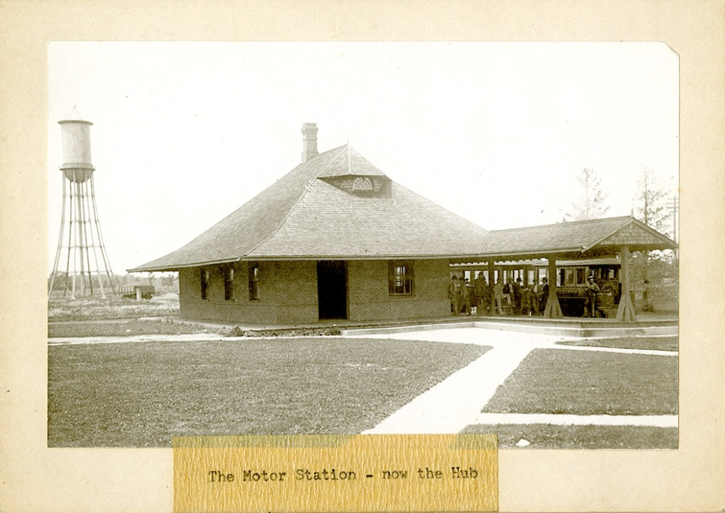 Photograph of the Hub as it appeared shortly after it was built. The Dinkey is waiting at the station for people to board.