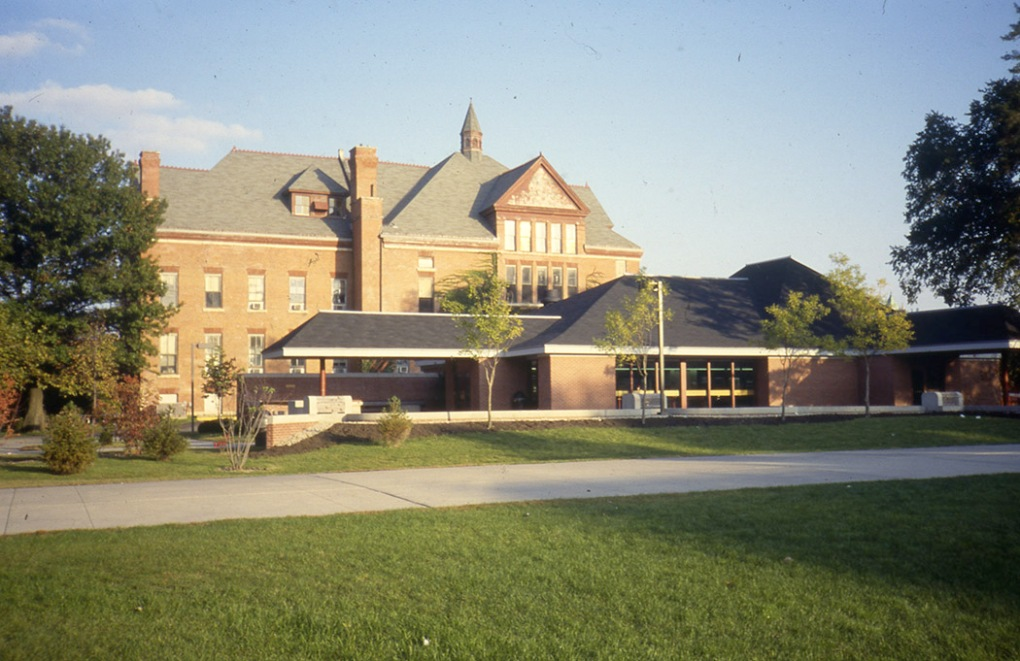 The Hub as it appeared in 1983 with Morrill Hall in the background.