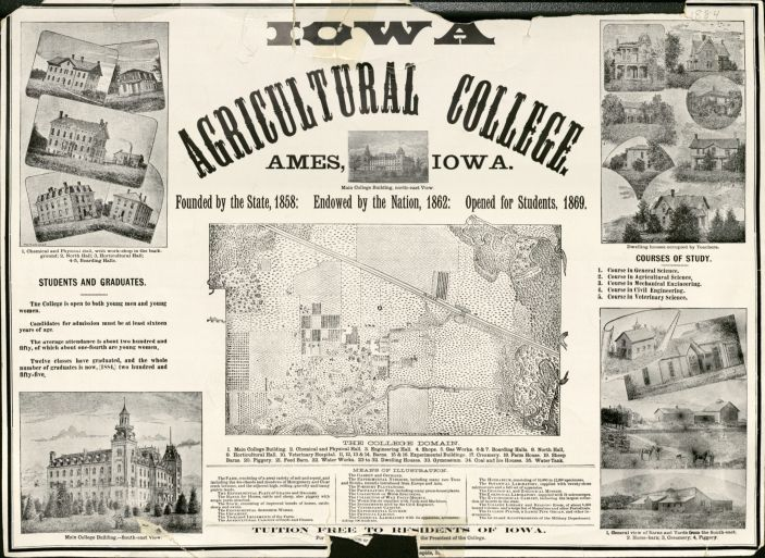 Announcement for the Iowa Agricultural College, circa 1884