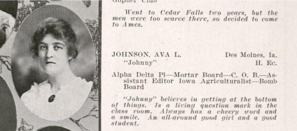 Photograph of Ava Johnson from page 76 in the Bomb yearbook from the year 1916.