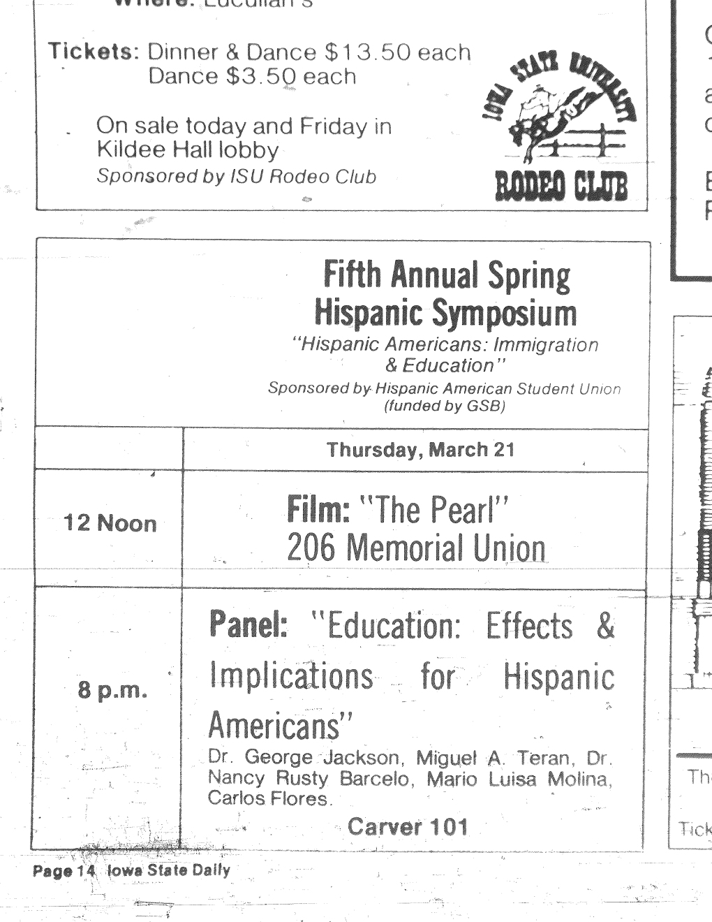"Advertisement for the ""Fifth Annual Spring Hispanic Symposium,"" Iowa State Daily, March 21, 1985, page 14"