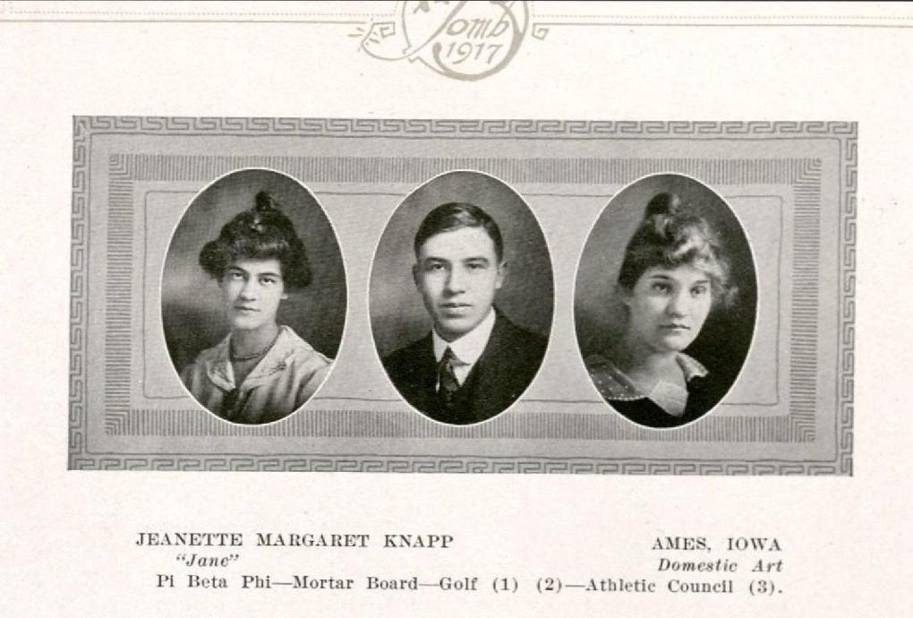 Senior portrait of Jeanette Margaret Knapp from the Bomb yearbook, 1917, page 108.
