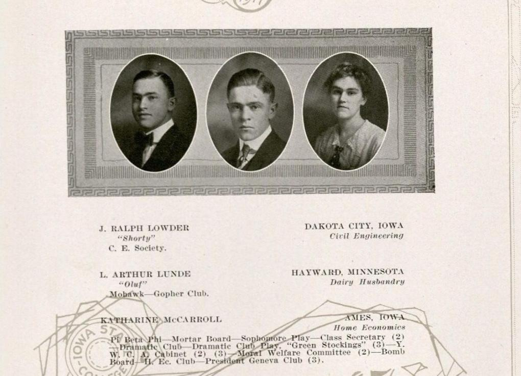 Senior portrait of Katherine McCarrell. McCarrell is on the far right. 1917 Bomb, p. 110. Katharine's name has been spelled Katherine when mentioned elsewhere.