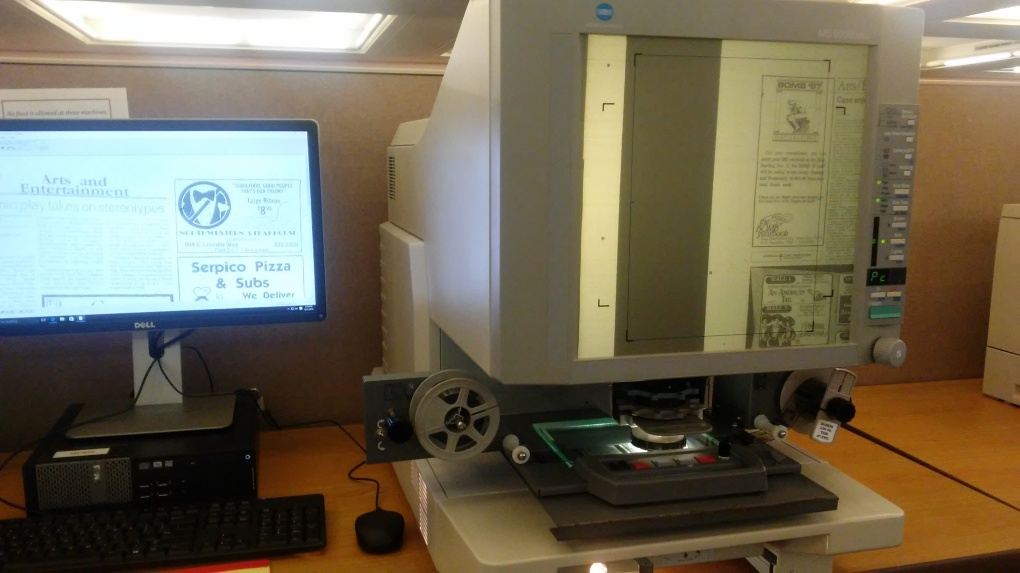 Microfilm reader in the Parks Library Media Center.