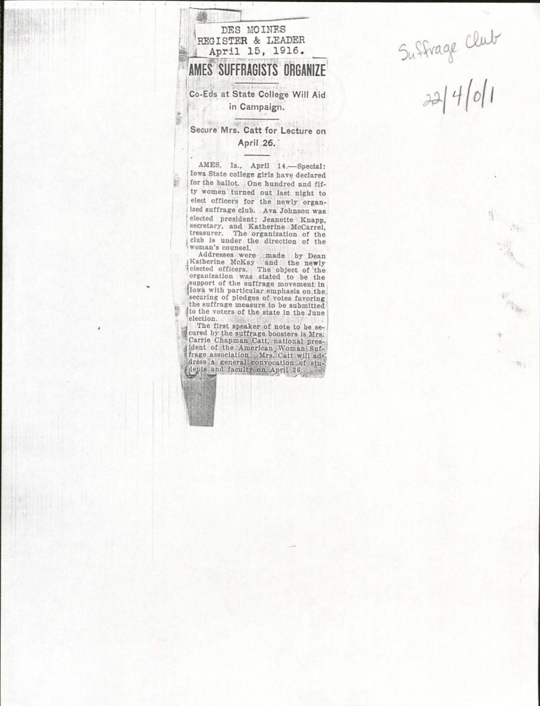 Newspaper clipping featuring the only known mention in the archives of the Suffrage Club. RS# 22/04/00/01.