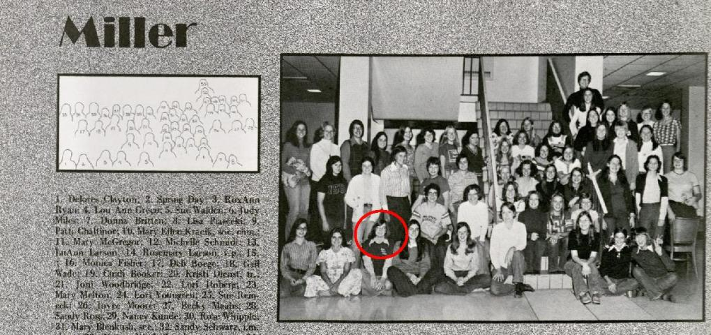 Image of Roxanne Ryan with members of her residence hall, Miller. Image from the Bomb 1975, page 308.