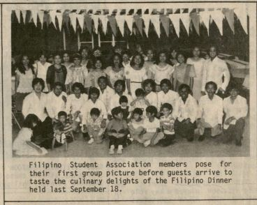 From the 1983 Kampanilya newsletter: Filipino Student Association members pose for their first group picture before guests arrive to taste the culinary delights of the Filipino Dinner held last September 18. (Filipino Student Association file, RS 22/3/0/1, box 1).