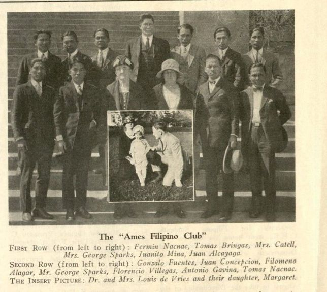 "The ""Ames Filipino Club"" First Row (from left to right): Fermin Nacnac, Tomas Bringas, Mrs. Catell, Mrs. George Sparks, Juanito Mina, Juan Alcayaga. Second Row (from left to right): Gonzalo Fuentes, Juan Concepcion, Filomeno Alagar, Mr. George Sparks, Florencio Villegas, Antonio Gavina, Tomas Nacnac. The Insert Picture: Dr. and Mrs. Louis de Fries and their daughter, Margaret. Circa 1925. (Filipino Club file, RS 22/3/0/1, box 1)."