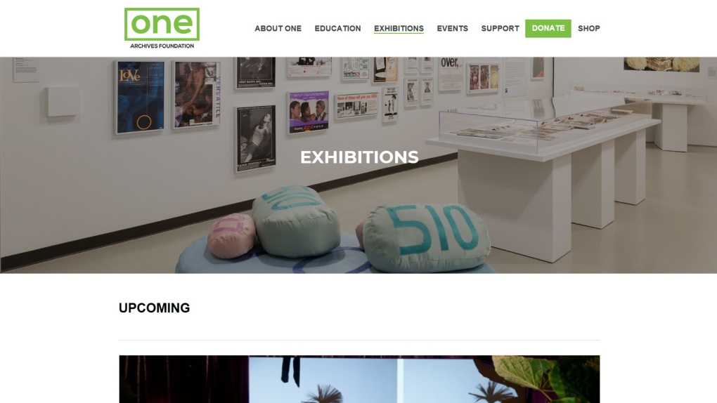 "https://www.onearchives.org/exhibitions/. Picture of the One Archives, one of the three California Community Archives stated in the article, from their website. / Foto del Archivo ""One"", uno de los tres archivos mencionados. Extraida de su sitio web"