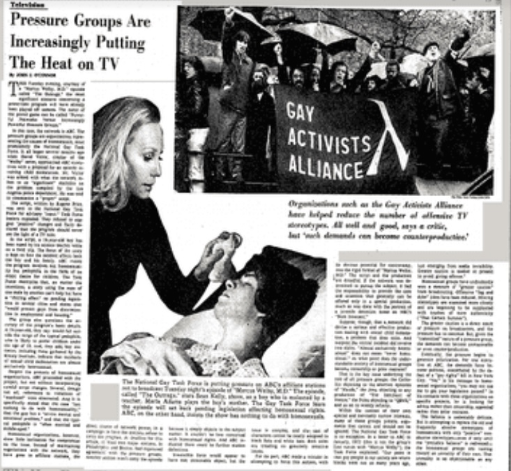 Blurry screenshot of an article from the New York Times, October 6, 1974, page 19. To read a clearer digitized copy of this article, visit the following URL: https://www.nytimes.com/1974/10/06/archives/pressure-groups-are-increasingly-putting-the-heat-on-tv-television.html