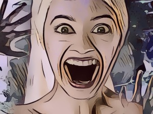 Illustration of blonde woman with mouth open in a scream.